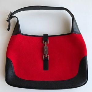 Authentic Gucci Jackie Bag Red Felt Black Trim